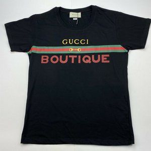 Gucci Shirts - New Gucci Black Boutique Print Cotton T-Shirt